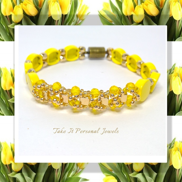 Yellow hand painted Crystal Bracelet NEW