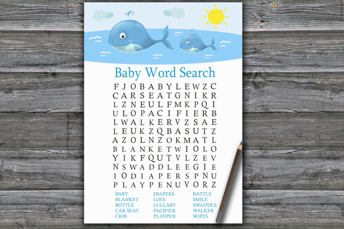 Whale Baby Shower Word Search Game,Whale Baby shower games,baby shower game