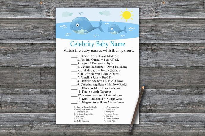 Whale Celebrity Baby Name Game,Whale Baby shower games,baby shower game