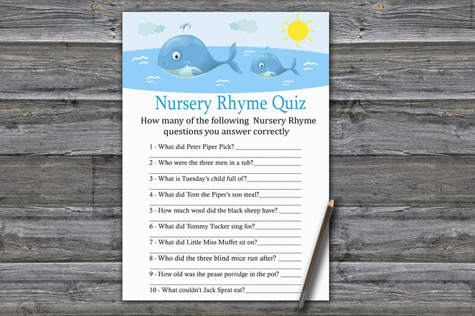 Whale Nursery Rhyme Quiz Game,Whale Baby shower games,baby shower game