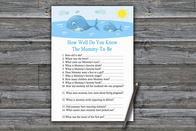 Whale How Well Do You Know Game,Whale Baby shower games,baby shower game