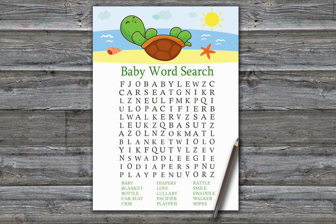 Cute Turtle Baby Shower Word Search Game,Cute Turtle Baby shower games,baby