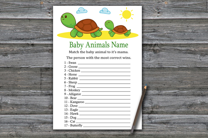 Turtle Baby Animals Name Game,Cute Turtle Baby shower games,baby shower game