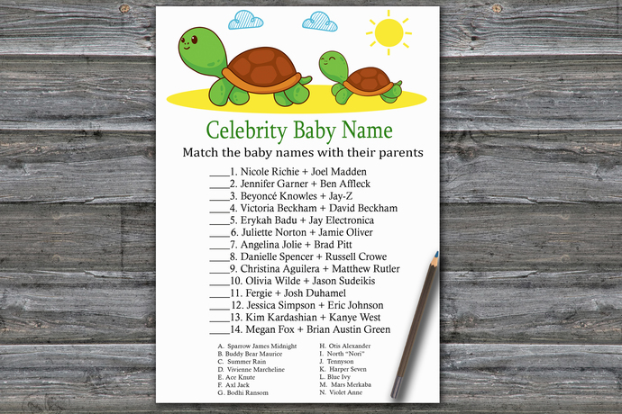 Turtle Celebrity Baby Name Game,Cute Turtle Baby shower games,baby shower game