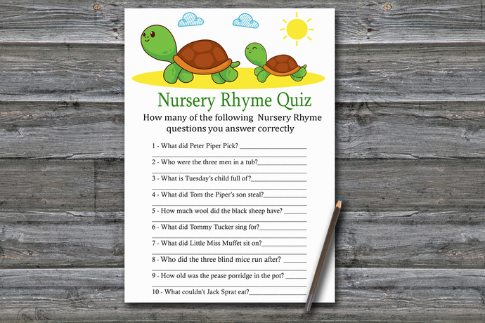 Turtle Nursery Rhyme Quiz Game,Cute Turtle Baby shower games,baby shower game