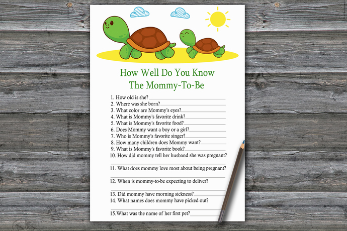 Turtle How Well Do You Know Game,Cute Turtle Baby shower games,baby shower game