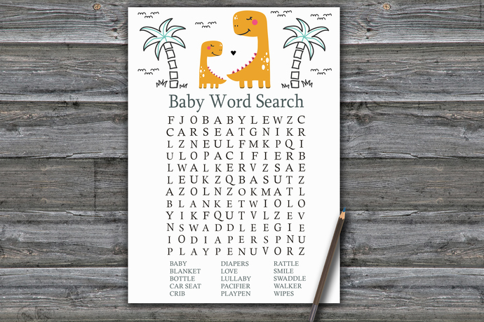Orange Dinosaur Baby Shower Word Search Game,Dinosaur Baby shower games,baby