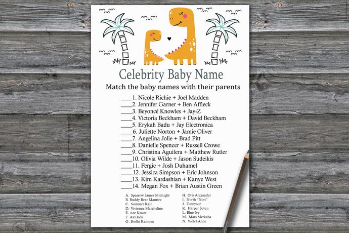 Orange Dinosaur Celebrity Baby Name Game,Dinosaur Baby shower games,baby shower