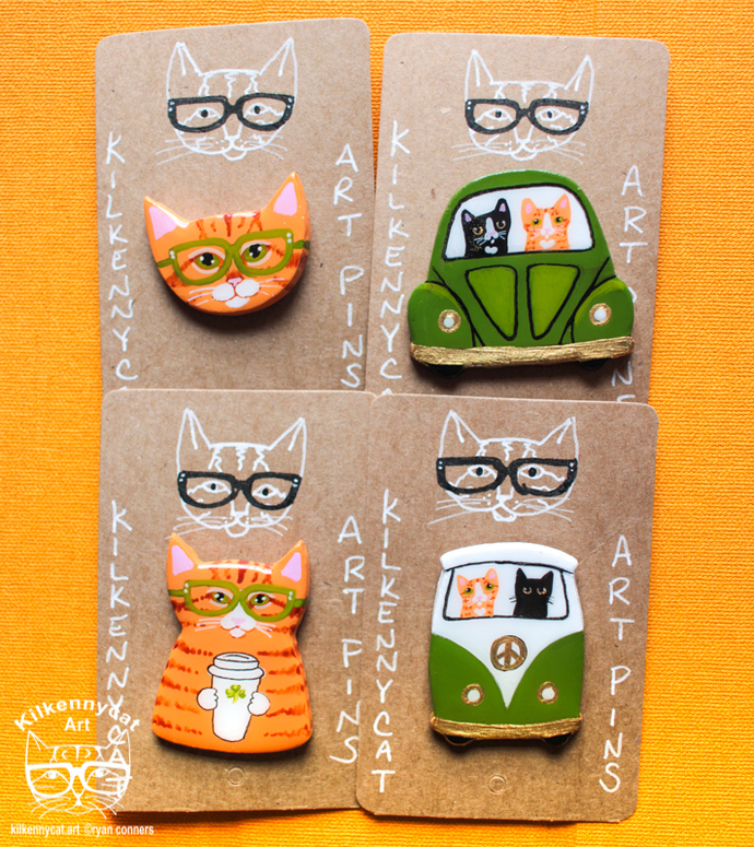 St. Patrick's Day Cats Handmade Hand Painted Polymer Art Pins
