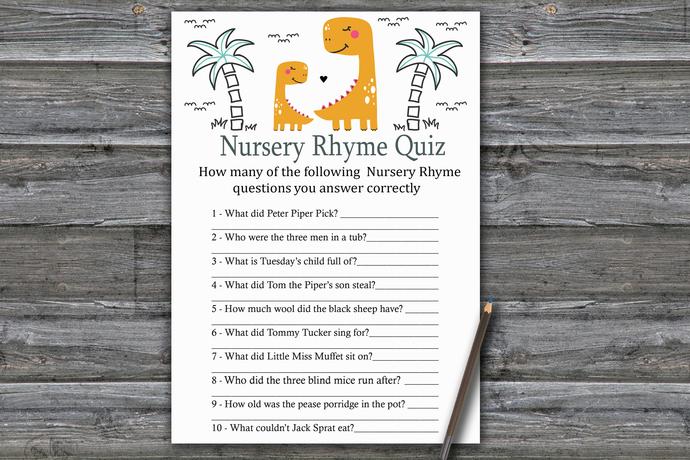 Orange Dinosaur Nursery Rhyme Quiz Game,Dinosaur Baby shower games,baby shower