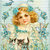 Girl and Forget Me Nots and Kittens Digital Collage Greeting Card3213