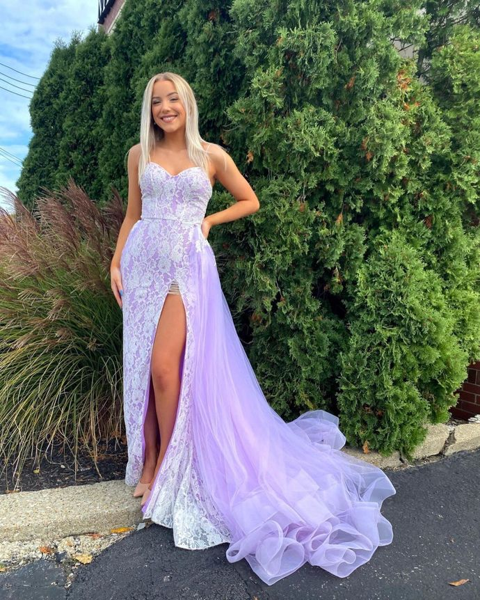 Purple Prom Dress,Mermaid Prom Gown,Tulle Evening Dress,Sweetheart Prom Gown 036