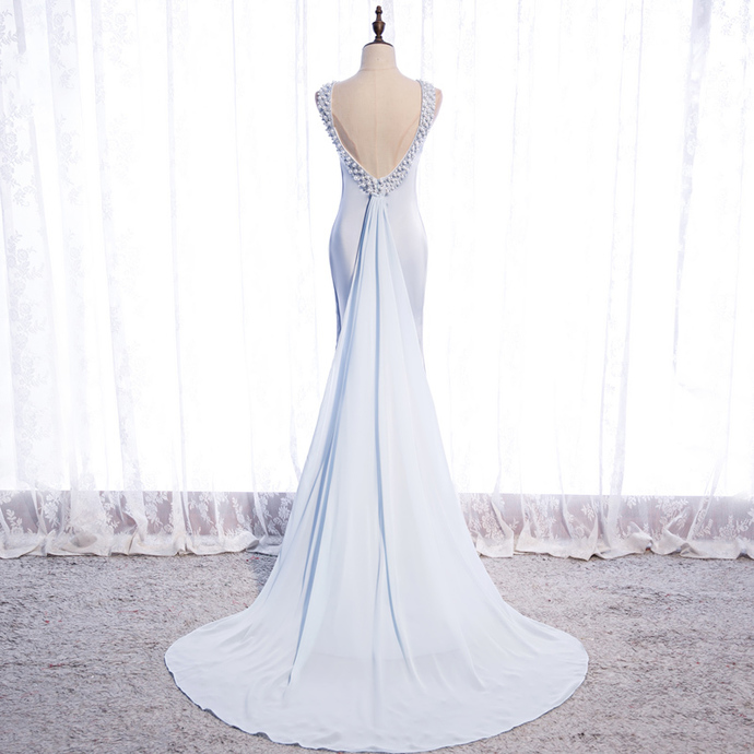 Blue Chiffon Long Backless Elegant Wedding Party Dress, Light Blue Evening Dress