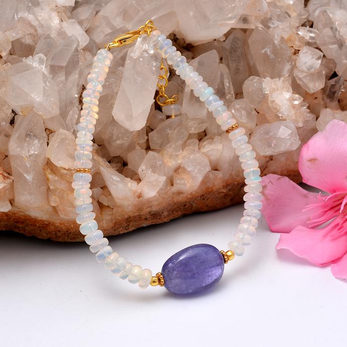 Ethiopian Opal Bracelet, Multi Fire Opal Jewelry, Welo Opal Silver