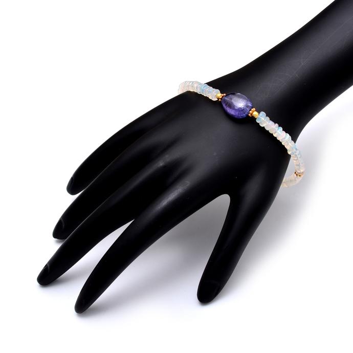 Ethiopian Opal Bracelet,Multi Fire Opal Jewelry,Silver Bracelet,Tanzanite Beaded