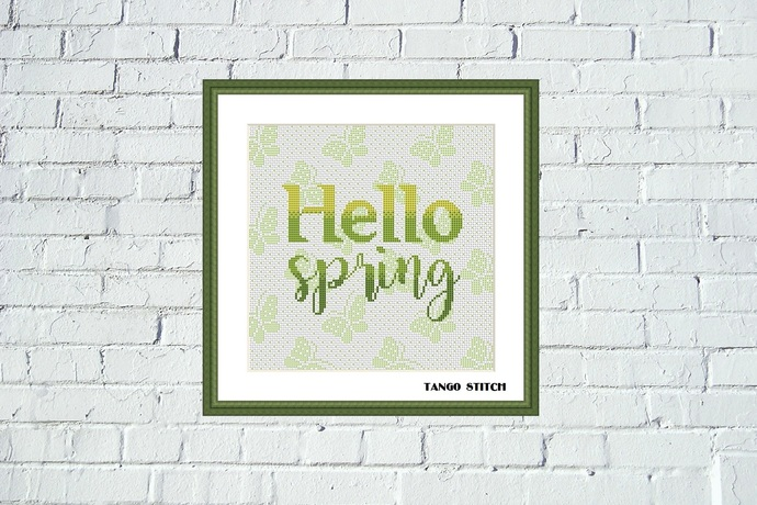 Hello spring butterfly ornament cross stitch pattern, Tango Stitch