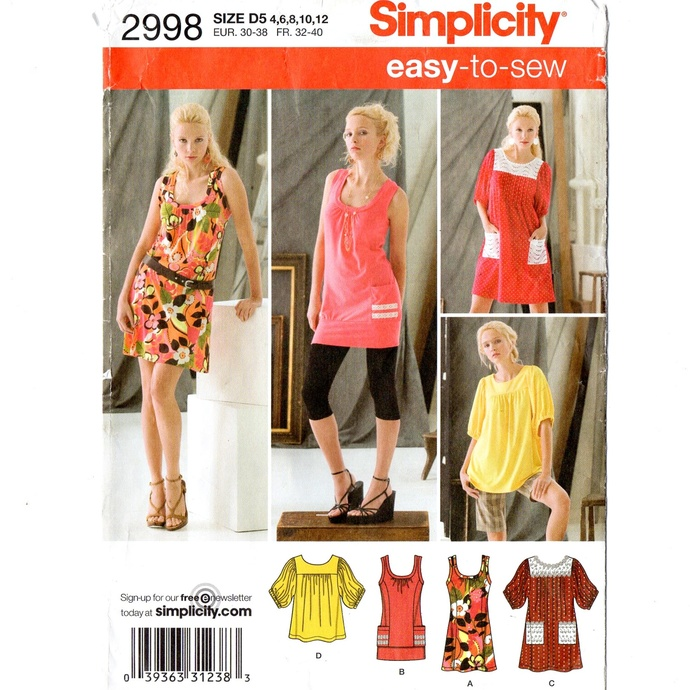 Simplicity 2998 Misses Knit Mini Dresses, Tops Sewing Pattern Size 4, 6, 8, 10,