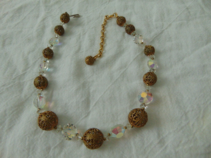 vintage Lisner signed ab crystals brass filigree ball beads necklace