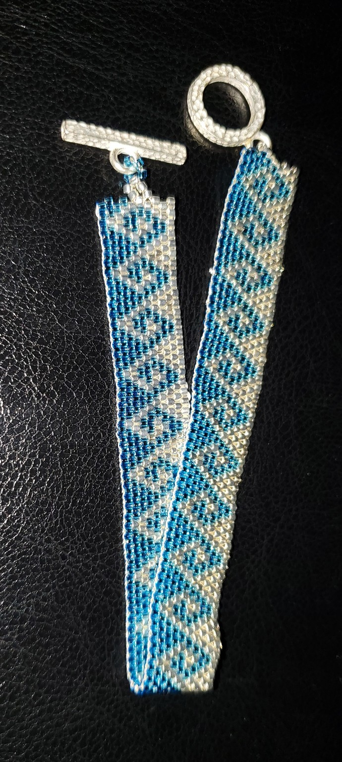"""Hand-stitched Silver and Blue """"Wave"""" Bracelet"""