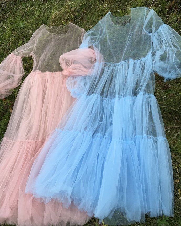 Custom Tulle Top Dress,A-Line Prom Gown,Tulle Evening Dress,See-Through Dress