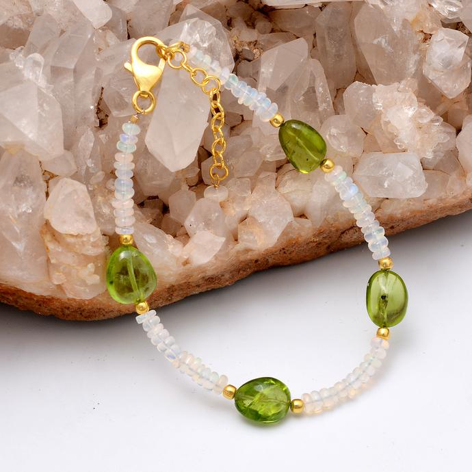 Natural Ethiopian Opal Bracelet,Opal Beads Bracelet,Statement Bracelet,Peridot