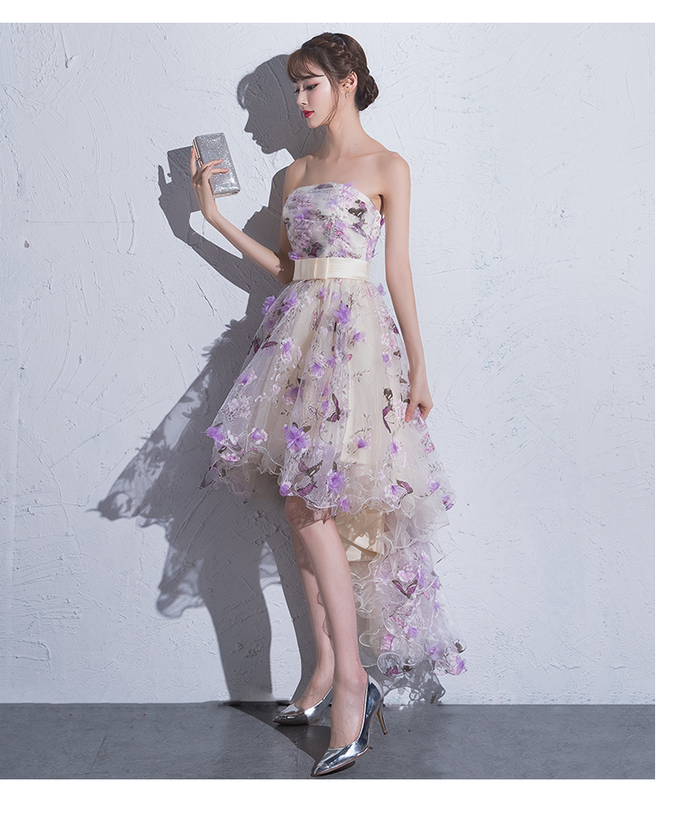 Lovely Floral Tulle High Low New Style Prom Dress, Short Homecoming Dress