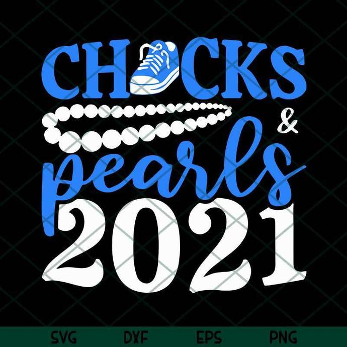 Chucks And Pearls 2021 SVG, Blue Converse SVG, Pearl Necklaces SVG, Inauguration