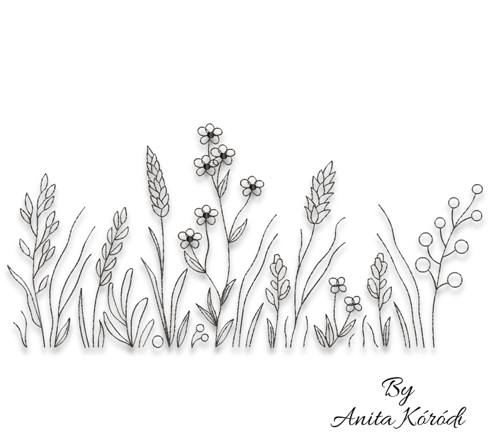 Field embroidery machine design flowers pes patterns instant digital download