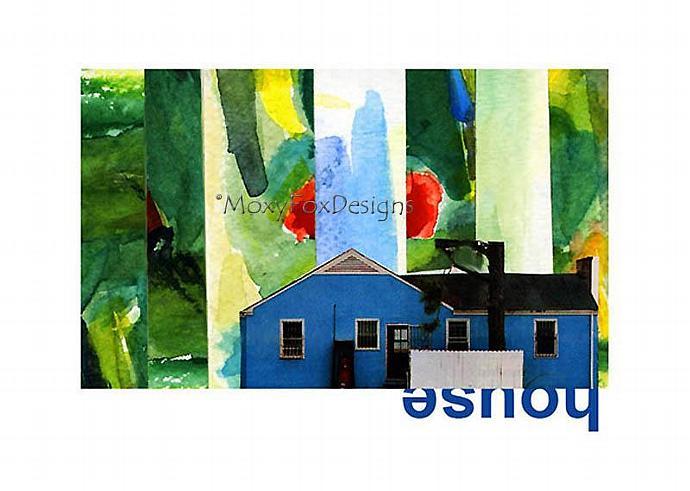 Art -- LOCATION,  LOCATION Post WW II Blue House in Fantasmagorical Setting