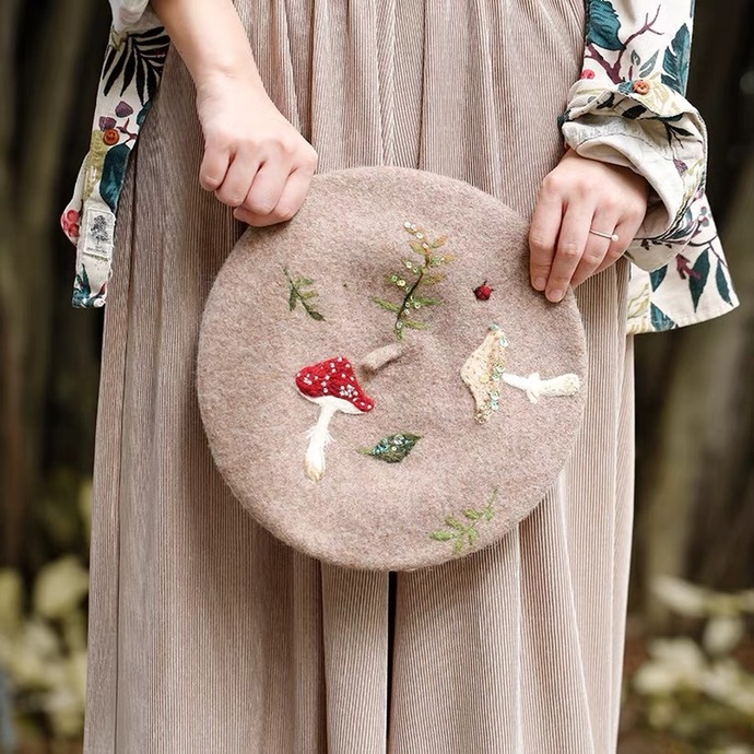 Needle Felted and beaded French Beret Hat: Toadstool Forest