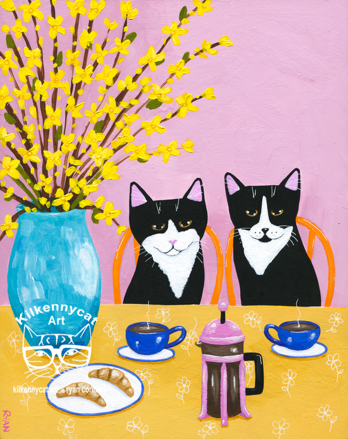 Breakfast For Two Original Whimsical Coffee Cat Folk Art Painting