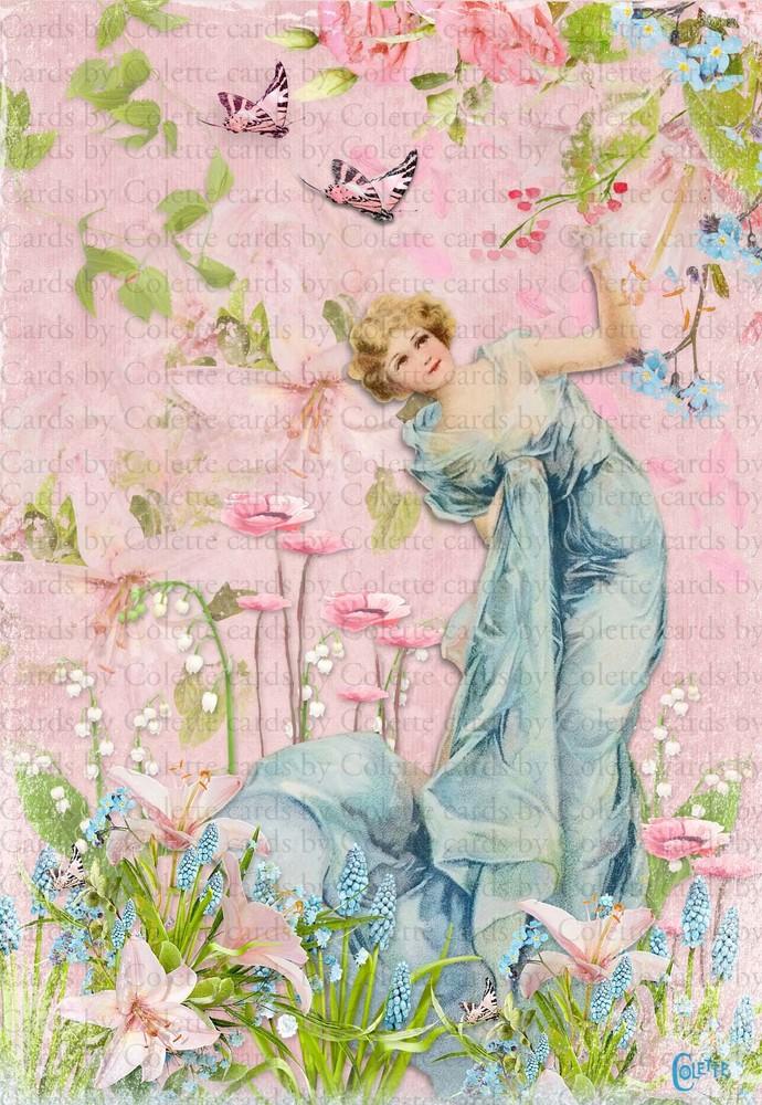 Lady in a Flower Garden Digital Collage Greeting Card3216
