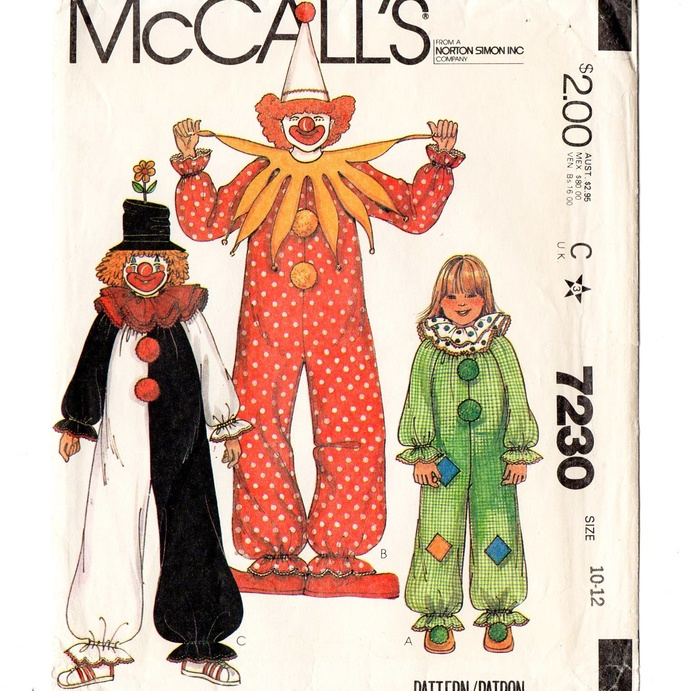 McCall's 7230 Child's Clown Costume 80s Vintage Sewing Pattern Childs Size 10-12
