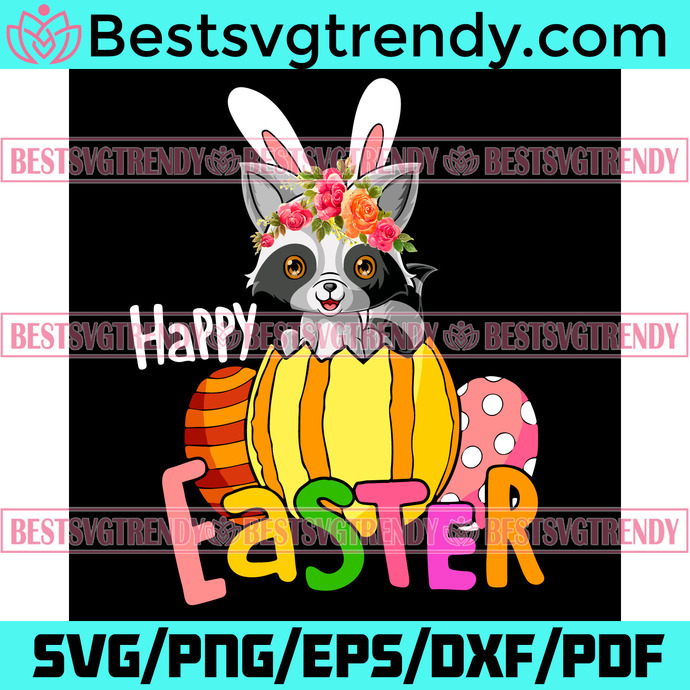 Happy Easter Bunny Raccoon Svg, Trending Svg, Bunny Eggs Hunt Svg, Easter Day