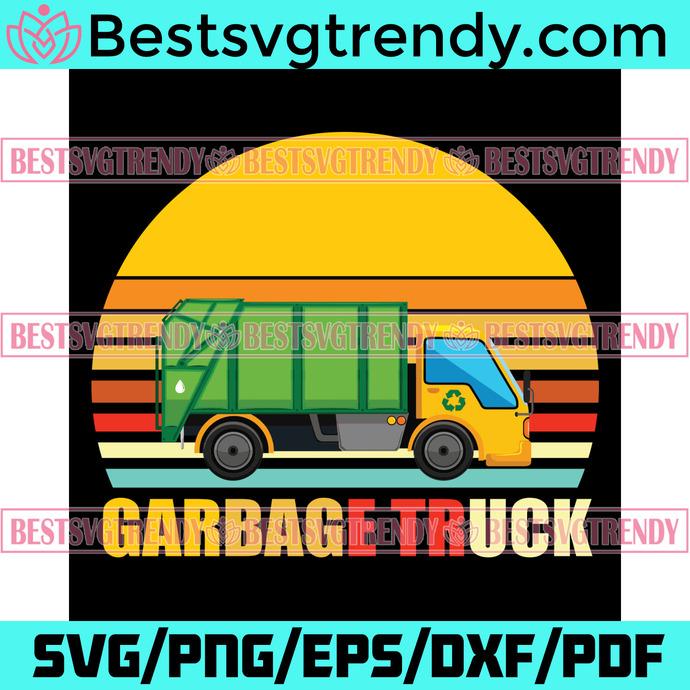 Garbage Truck Svg, Trending Svg, Vintage Trash Recycling Car, Garbage Truck Svg,