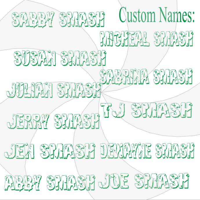 Pick up to 6 Custom Hulk Smash Names-Digital ClipArt-Jewelry-Name Tag-T