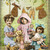 Children With Bears and Dolls Digital Collage Greeting Card9069