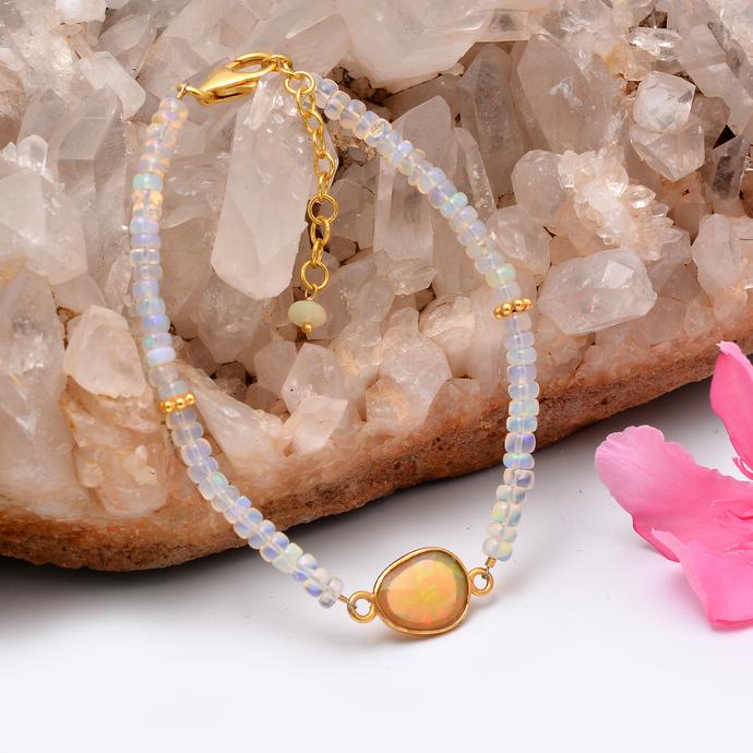 Ethiopian Opal Bracelet,Ethiopian Opal Bracelet,Opal Beads Bracelet,Statement