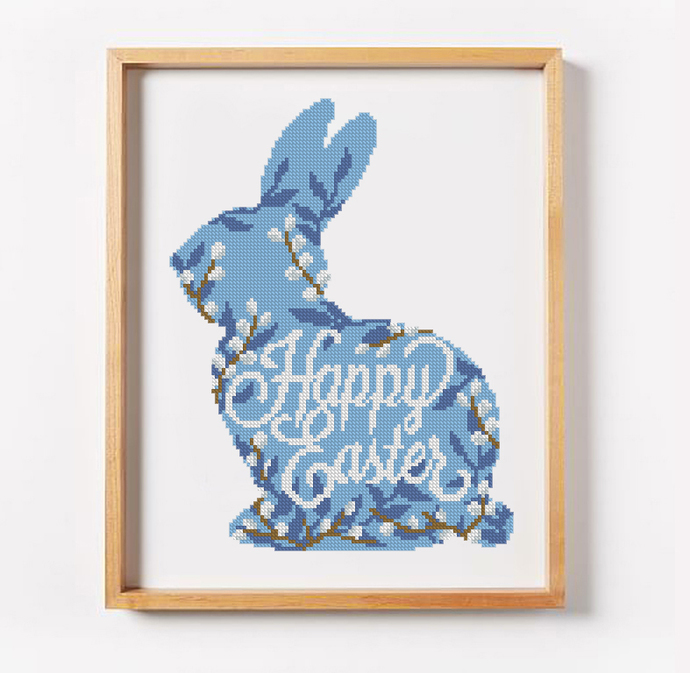 Easter Bunny silhouette cross stitch pattern Happy Easter cross stitch pattern