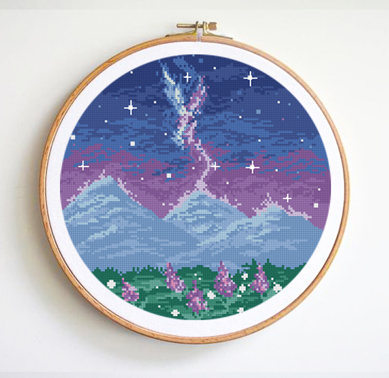 Landscape Cross Stitch Pattern Easy counted cross stitch chart starry sky moon