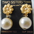 vintage Two Sisters gold floral pearl dangle clip on earrings NOS