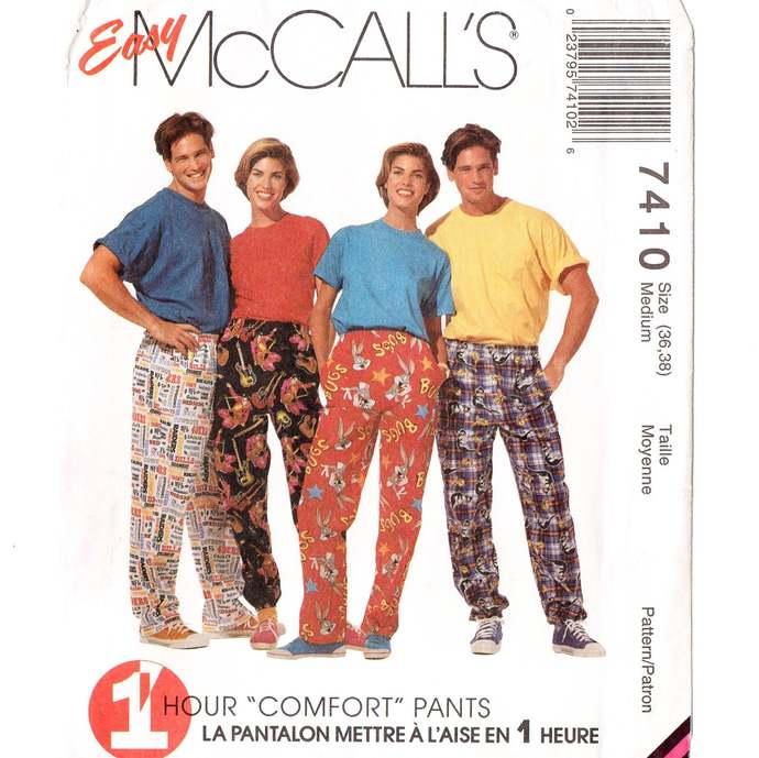 McCall's 7410 Misses, Men's 1 Hr Comfort Pants 90s Vintage Sewing Pattern Uncut