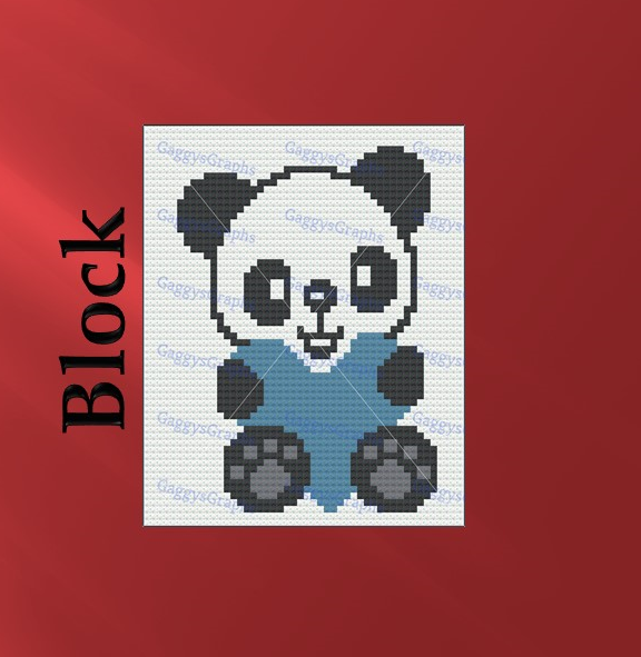 Baby Panda, Block Stitch, Graph + written line by line color coded block
