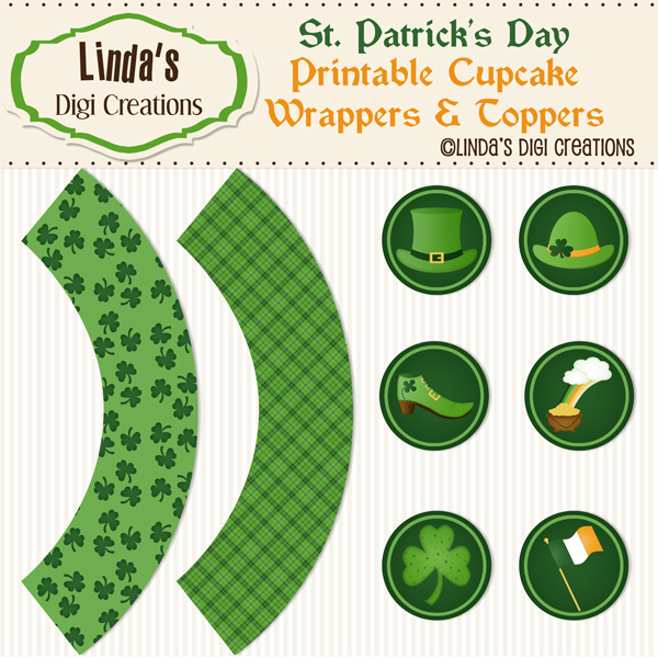 St. Patrick's Day Printable Cupcake Wrappers & Toppers