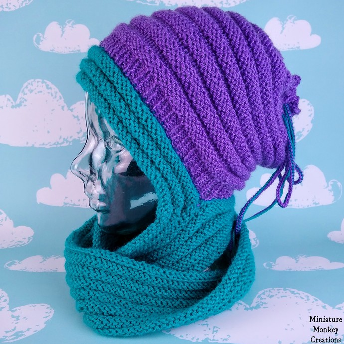 Convertible Cowl in Turquoise and Purple