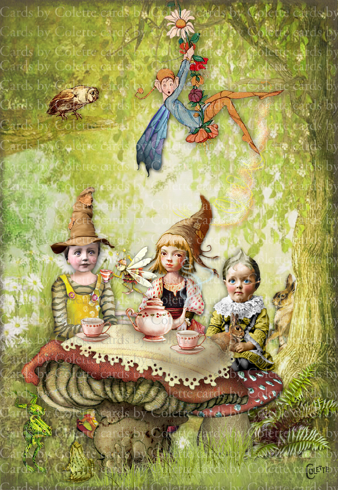 Elves Tea Time Digital Collage Greeting Card3217