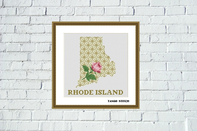 Rhode Island flower state map silhouette ornament cross stitch pattern