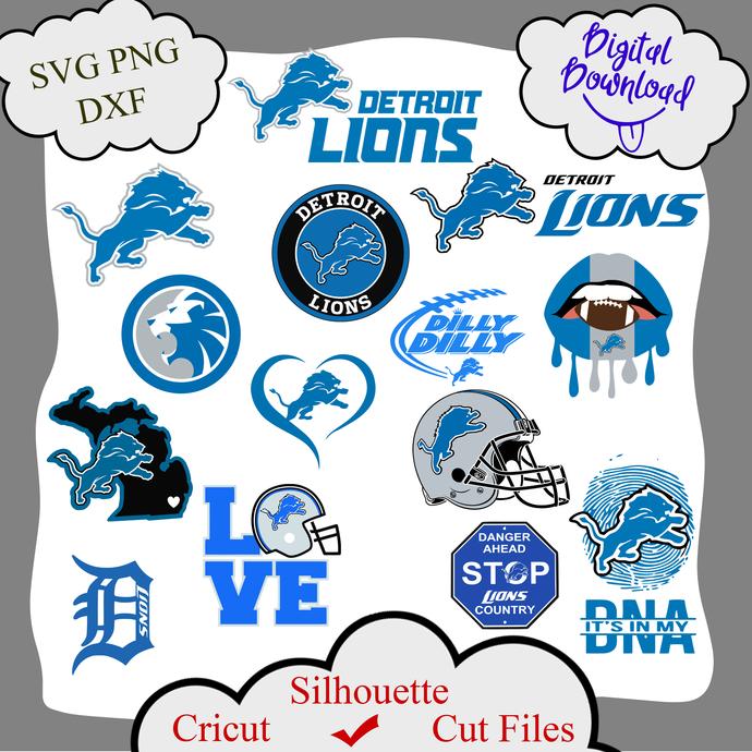 Detroit Lions bundle logo sport svg, Detroit Lions bundle svg, Detroit Lions