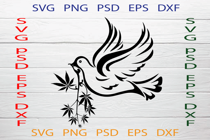 Dove and Canabis Svg, Pigeons Canabis Svg, Marijuana Svg, Bird Cannabis Svg,