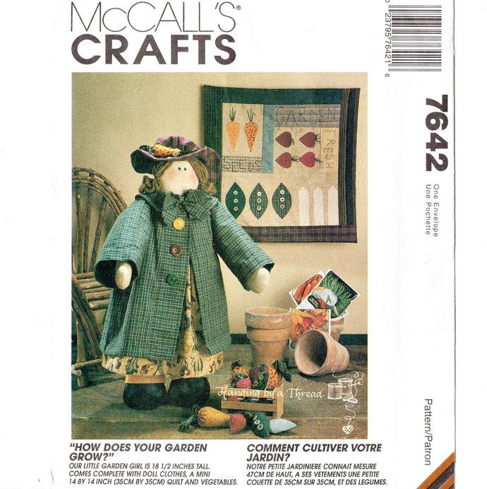 McCall's 7642 Garden Girl Stuffed Doll, Mini Quilt, Vegetables 90s Vintage